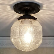 808 Vintage Antique Geometric Glass Shade Ceiling Light Fixture Hall Entry Porch
