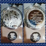 Rare Norman Rockwell Birches By Robert Frost Poetry 1.5 Troy Oz Silver Round