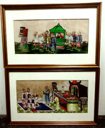 Pair Two Chinese Export Paintings On Rice Paper 6x13 Matted And Framed 11x17.5