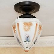 810b Vintage Antique Glass Shade Ceiling Light Fixture Hall Entry Porch