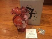 Fenton Glass Mary Gregory Collection 2001 Cranberry 7 Vase 1517/2350
