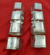 8 Handwrought Hand Hammered Hexagon Shape Sterling Silver Napkin Rings 10679