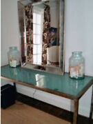 Fabulous Modern Industrial Style Blue Glass Iron Dining Table/desk/console Table