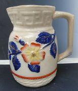 Antique C1870and039s Majolica Pottery Pitcher Greek Key Off White Cobalt Blue Leaves