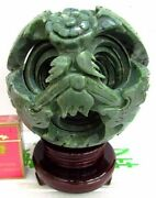 Wonderful Hand Carved 8 Layers Green Jade Puzzle Sphere Ball W/ Stand Huge
