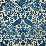 Exotic And Ethnic Chic Pavone Cut Velvet Upholstery Fabric 5yards Blue