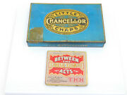 Vintage Lot Of 2 Mini Cigar Boxes Tins Little Chaps Chancellor Between The Acts