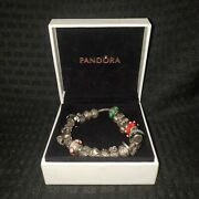 Sterling Silver Pandora Charm Bracelet With 20 Charms Nice Estate Find
