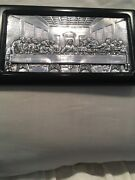 Sterling Silver Stamped 9.25 Icon Of The Last Supper On Wood Made In Greece