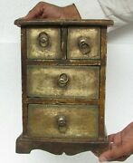 Vintage Old Wooden Hand Carved Brass Fitted Painted 4 Drawer Jewellery Box