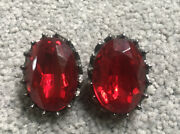 Blair Delmonico Huge Vintage Earrings Glam Red Antique Silver Tone Faux Ruby