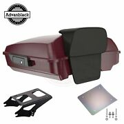 Advanblack Crimson Red Sunglo Razor Tour Pack Trunk Luggage For Harley 1997-2020