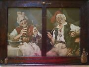 2 Old Men W/churchwarden Pipes And Drinking Whiskey, Unique Old Wood/glass 1frame