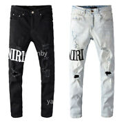 New Italy Pop Style Knee Hollow Out Ripped Slim Pants Bk/bu Menand039s Jeans A649/650