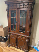 Antique Vintage One Of A Kind 19th Century Hutch Hand Carved Solid And Beautiful