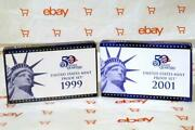United States Mint Proof Sets 50 State Quarters 1999 And 2001 Box And Coa 18 Coins