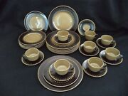 Franciscan Tahiti Service For 8 Place Settings Olive Brown Plates Cups 1960s