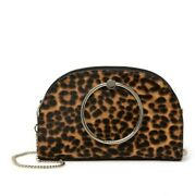 Nwt - Ted Baker - Liona - Leather Leopard Circle Handle Crossbody - Black - 239