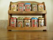 Vintage 10 Tin Spice Containers With Rack Made In England