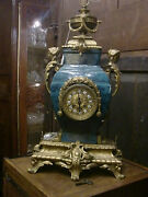 Antique Large Chinese Celadon And French Gilded Bronze Figural Mantel Clock