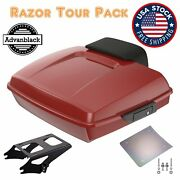 Advanblack Red Hot Sunglo Razor Tour Pack Trunk Luggage Fits Harley Touring 97+