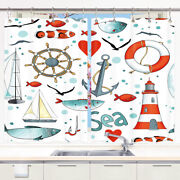 Anchor And Rudder, Lighthouse Kitchen Curtains 2 Panel Set Decor Window Drapes