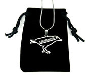 Nevermore Raven Necklace, Pure 304 Stainless Steel, Edgar Allan Poe Reader Gift
