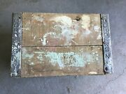 Vintage Bordens Ny Milk Wooden Crate Box Country Rustic Wood Metal Sign 1950s