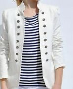 Military Style Jacket White With Gold Buttons S