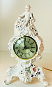 Vintage Florence Ceramics French Electric Clock 11.5 Sessions Cherub Roses