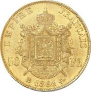 Aa496 France 50 Francs Napoleon Iii 1866 Bb Strasbourg Or Gold Pcgs Ms64