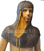 Chainmail Coif 9mm Fiat-ring-alt Solid-ring-dome Riveted Medieval Armor