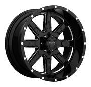 For Tuff At Truck And Suv 4-wheel Rim T15 Gloss Black Milled Spokes 22x10|5x4.5