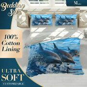 Dolphin Jumping Animals Sea Life Blue Quilt Cover Queen Size Single Double King