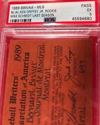 1989 Ken Griffey Jr Debut/first Hit/hr Psa Ticket Pass Mike Schmidt Last Hr Ex