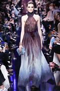 Nwt Elie Saab Purple Ombrandeacute Tulle Halter Evening A-line Ball Maxi Dress Gown 36 S