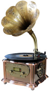 Gramophone Vintage Retro Style Phonograph Turntable Wireless Speaker Aux In Fm
