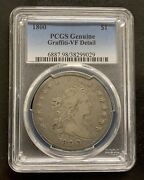 1800 Draped Bust Silver Dollar Pcgs Genuine Graffiti-vf Detail Rare Coin