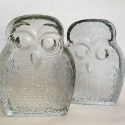 Glass Owl Bookends Vintage 1960s Blenko 7 Inches Heavy Owls Clear Carved Glass