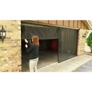 Garage Door Screen 16 Ft. X 7 Ft. 3-zipper Rope/pull Black Shut Out Insects