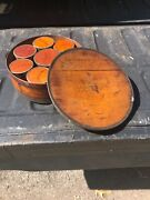 Antique 1858 Shaker Wood Spice Box With 8 Individual Wood Containers