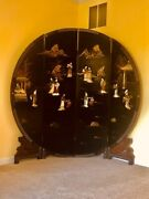 Round Vintage Black Lacquer Oriental Chinese Carved Soapstone 4 Panel Screen