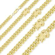 14k Yellow Gold Hollow Miami Cuban Necklace Chain 4-9.5mm 18-30 - Curb Link