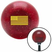 Yellow American Flag Red Metal Flake Shift Knob Usa Shifter Auto Drag Tree Jdm
