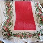 Vintage Christmas Cotton Tablecloth Balls Greenery Faded/wash Wear/cutter