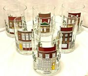 Cera Glassware Lowball Cups Dbl/old Fash-town/country Scene Set Of 6 New Vintg.