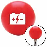 White Battery Charge Symbol Red Shift Knob Usa Shifter Auto Brody Drag Car Jdm