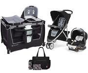 Stroller With Car Seat Baby Travel System Playard Crib Diaper Bag Baby Combo Set