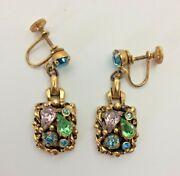 Estate Find Vintage Costume Jewelry Clip-on Earrings Jeweled Nugget Victorian