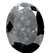 Natural Loose Diamond Rustic Diam I1 5.86tcw Galaxy Gray Oval Rose Cut For Gift